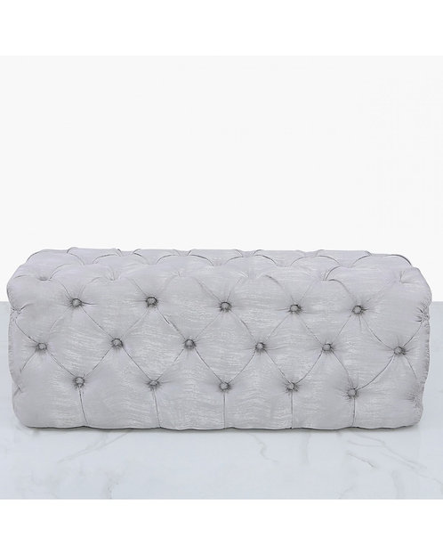 SILVER TEXTURED BUTTONED OTTOMAN