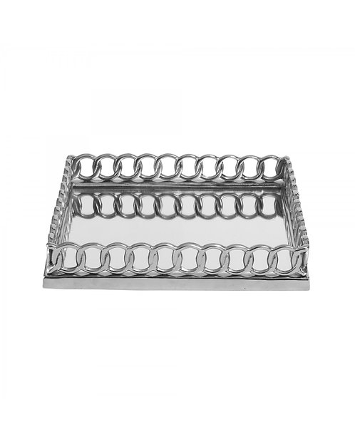 CHROME CHAIN LINK SQUARE TRAY 35CM