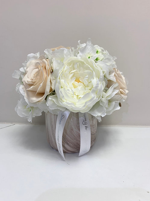 CHAMPAGNE MARBLE WITH WHITE HYDRANGEAS SMALL