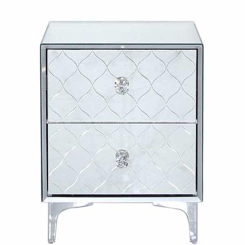 Tiffany Mirror 2 Drawer Bedside Cabinet