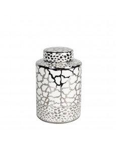 MEDIUM SILVER AND WHITE PRINT JAR