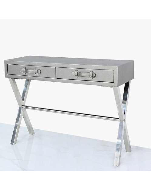 PEWTER FAUX LEATHER CONSOLE TABLE WITH STAINLESS STEEL CROSS LEGS