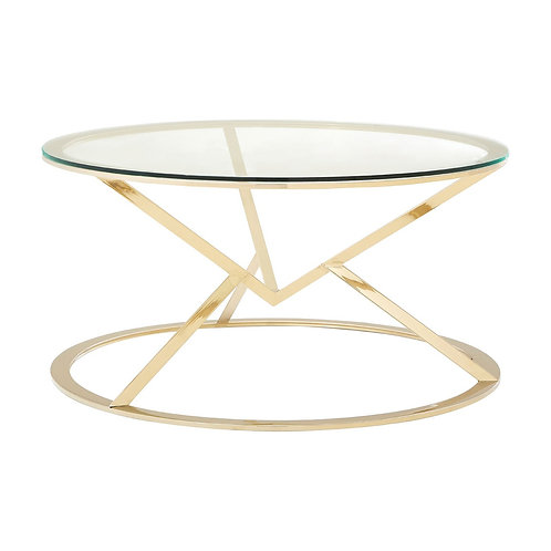 LUXE Allure Corseted Round Champagne Coffee Table