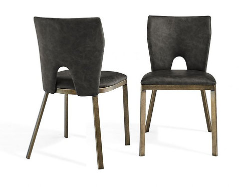 CAMLEY VINTAGE GREY FAUX LEATHER DINING CHAIR (SET OF 2)