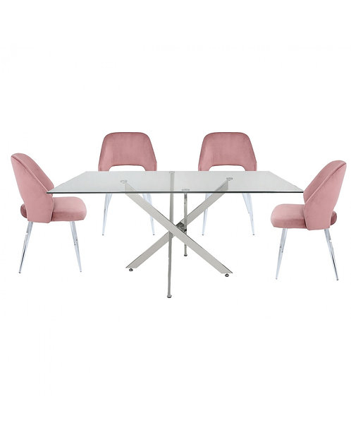 Nova 160cm Blush Pink Rectangular Dining Set