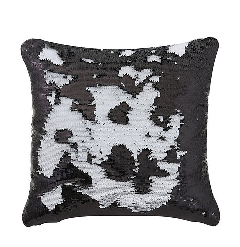 BLACK AND WHITE SEQUIN CUSHION