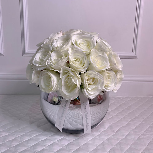 MEDIUM WHITE ROSE BUBBLE SILVER