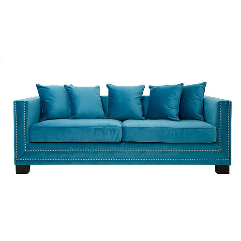LUXE Sofia 3 Seat Sofa Cyan Blue