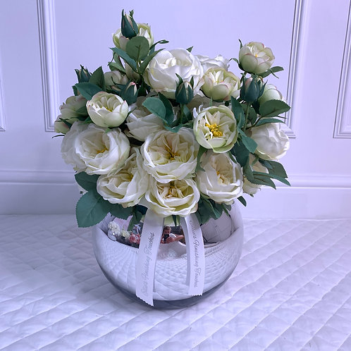 MEDIUM CREAM GARDEN PEONY BUBBLE SILVER