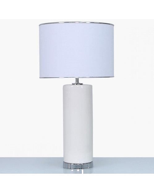TALL WHITE CERAMIC LAMP WITH WHITE SHADE