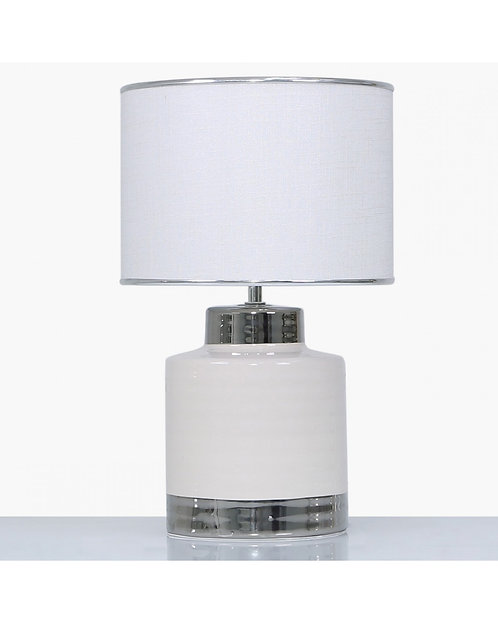 SMALL CERAMIC LAMP WITH WHITE TEXTURED SHADE
