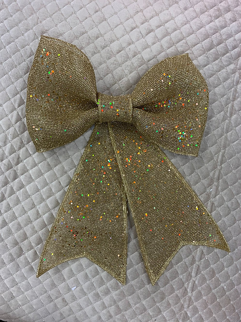 LARGE GOLD SPARKLY BOW ON STRING