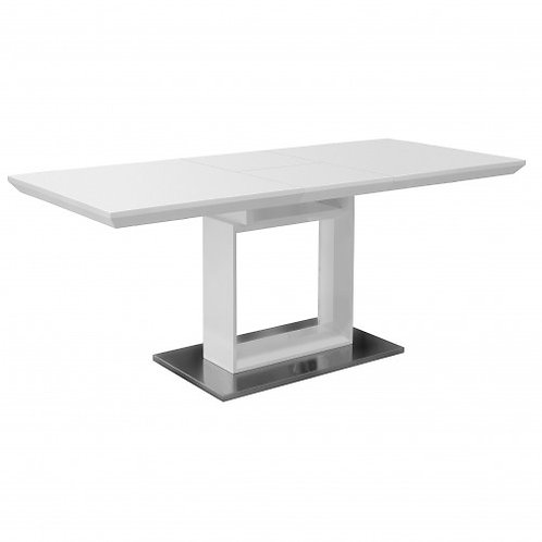 WHITE HIGH GLOSS EXTENDABLE TABLE WITH SQUARE BASE