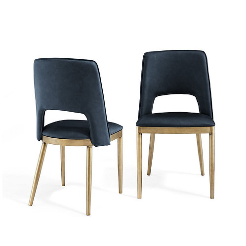 ATWOOD NIGHT BLUE FAUX LEATHER DINING CHAIR (SET OF 2)