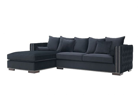 BLACK MAYFAIR CORNER SOFA LEFT