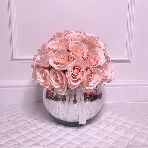MEDIUM CANDY PINK ROSE BUBBLE SILVER