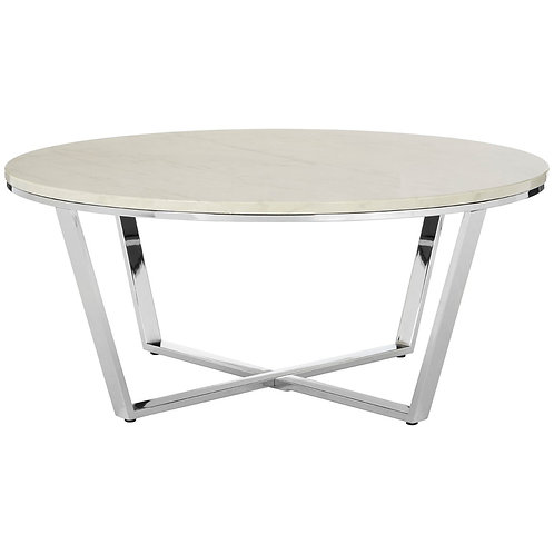 LUXE Allure Round White Faux Marble Coffee Table