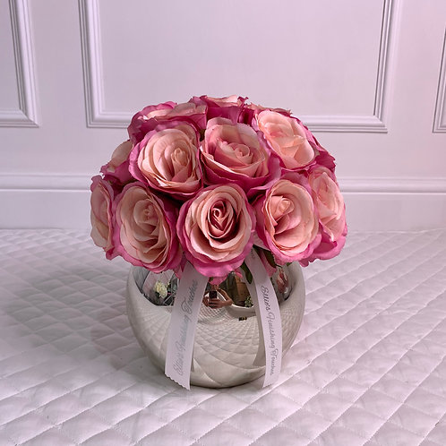SMALL HOT PINK ROSE BUBLE SILVER