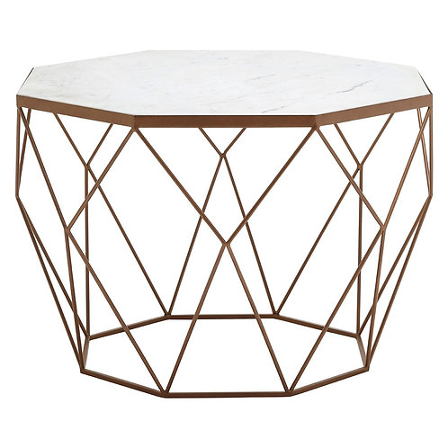 LUXE Shalimar Octagon White Marble Coffee Table