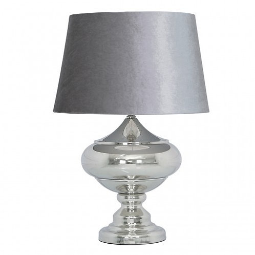 LARGE CHROME LAMP WITH GREY CROC VELVET SHADE