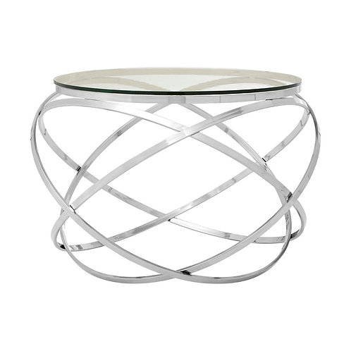 LUXE Allure Chrome Swirl End Table