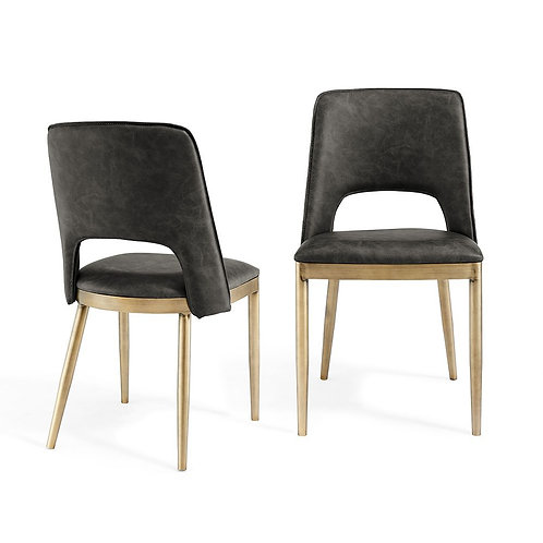 ATWOOD VINTAGE GREY FAUX LEATHER DINING CHAIR (SET OF 2)
