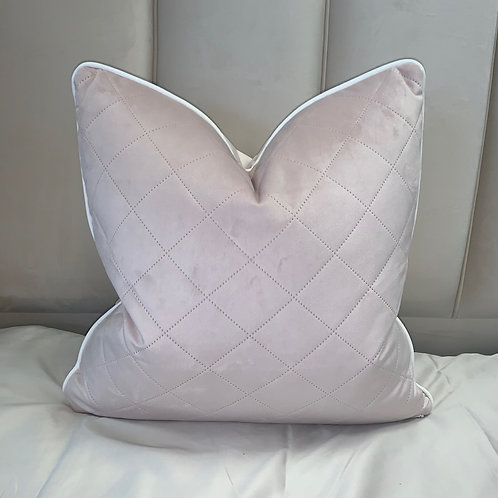 BABY PINK QUILTED CROSS STITCH WITH WHITE PIPING 55x55cm