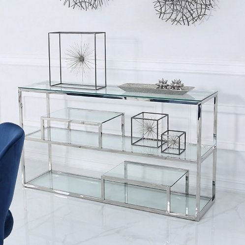 CHROME AND GLASS DISPLAY CONSOLE TABLE