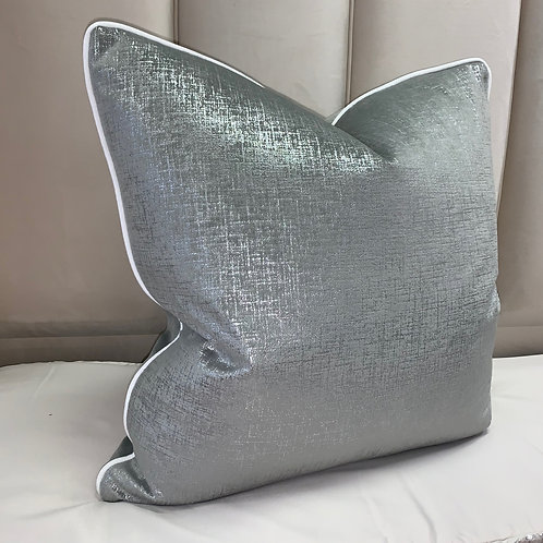 GREY WITH SILVER FLECK AND WHITE PIPING 55x55cm