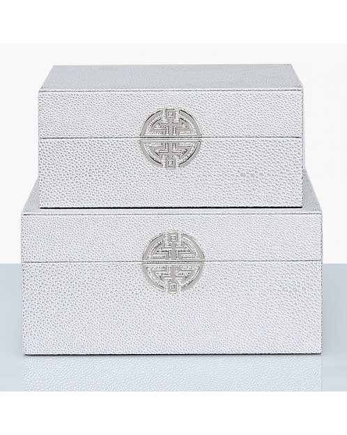 SET OF 2 SILVER DECORATIVE BOXES