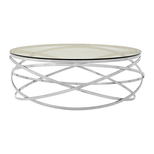 LUXE Allure Round Silver Swirl Base Coffee Table