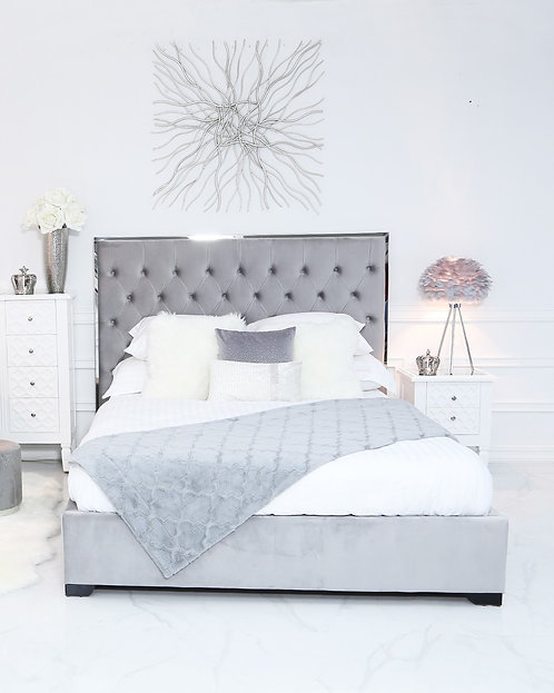 GREY HOLLYWOOD BED DOUBLE