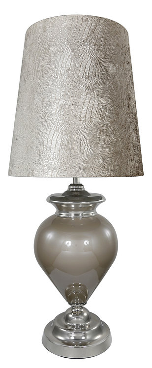 TAUPE STATEMENT LAMP WITH TAUPE MOC CROC SHADE