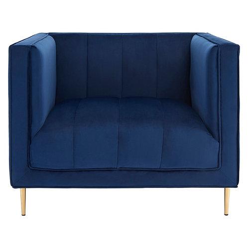LUXE Otylia Deep Blue Velvet Armchair