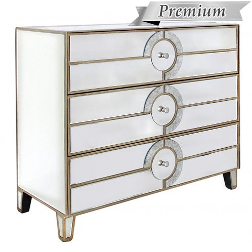 MIRRORED ART DECO 3 DRAWER CHEST