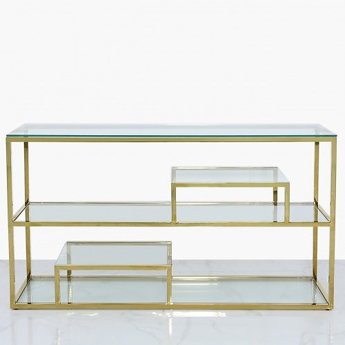 GOLD STEEL AND GLASS DISPLAY CONSOLE TABLE