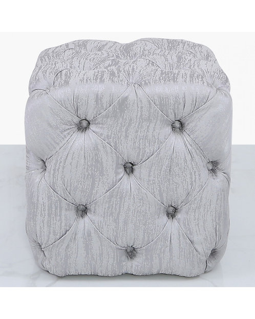 SMALL SQUARE SILVER TEXTURED BUTTONED FOOTSTOOL