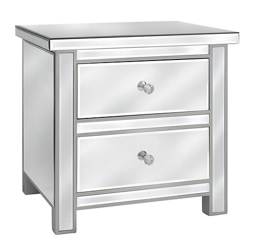 CLASSIC MIRRORED 2 DRAWER BEDSIDE
