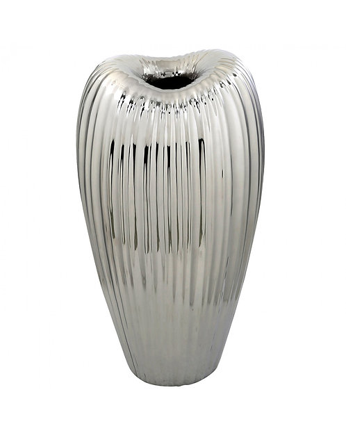 SILVER RIBBED VASE LARGE