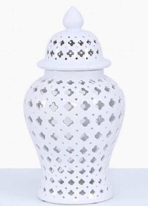 SMALL WHITE CERAMIC GINGER JAR