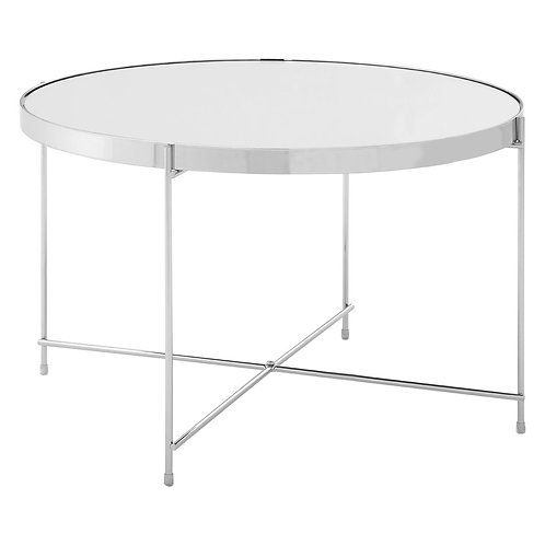 LUXE Allure Large Silver Mirror Side Table