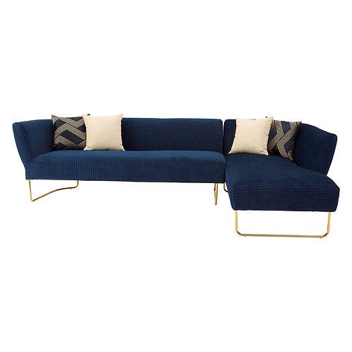 LUXE Renee Dark Blue Velvet 5 Seat Corner Sofa