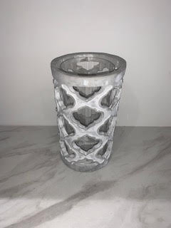 STONE AND GLASS LATTICE CANDLE HOLDER