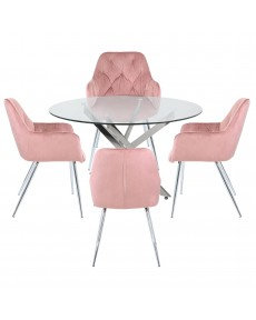 NOVA DINING SET 100cm PINK BUTTONED CHAIRS