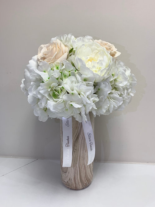 CHAMPAGNE MARBLE WITH WHITE HYDRANGEAS LARGE