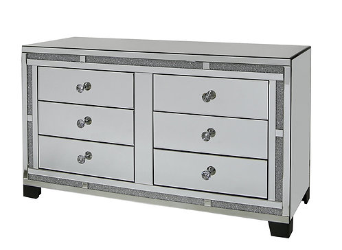LUXURY CRUSHED CRYSTAL 6 DRAWER CHEST