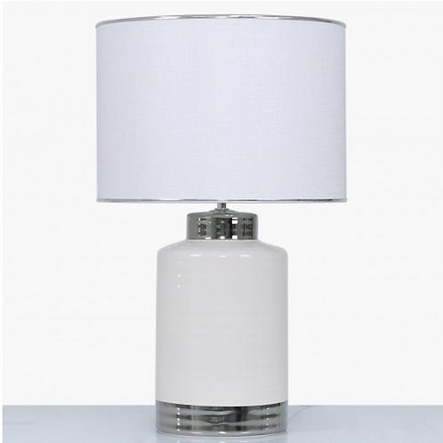 MEDIUM CERAMIC LAMP WITH WHITE TEXTURED SHADE