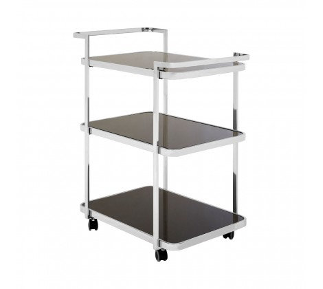3 TIER BLACK GLAS AND CHROME DRINKS TROLLEY