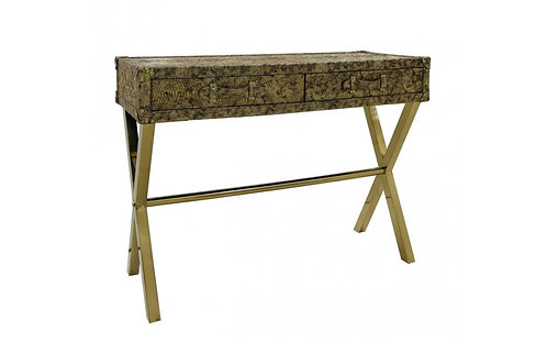 STOCK CLEARANCE BRAND NEW GOLD FAUX LEATHER SNAKESKIN CONSOLE TABLE