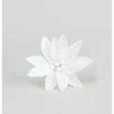 25CM FABRIC/GLITTER POINSETTIA WHITE